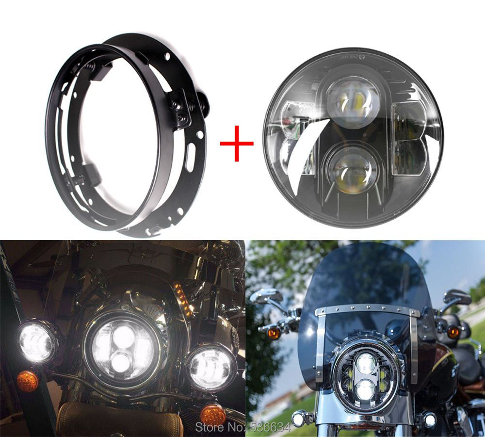 80W 7Inch LED Round Projector Headlight Hi/Low Beam+7inch Headlight Mounting Bracket Ring For Harley-Davidson Heritage Springer 7inch led projector daymaker headlight hi low beam led headlight mounting bracket ring for electra glide ultra classic efi