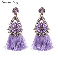 Фотография Come on lady Rhinestone Crystal Flower Statement Earring Vintage Colorful Tassel Dangle Drop Earrings For Women ALER454