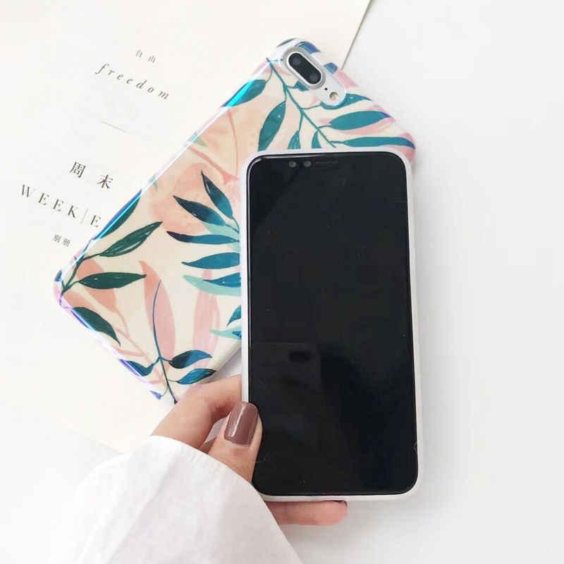 Blu-ray laser Schilderen Bladeren Telefoon Case voor iphone X 7 7 Plus 6 6 S Plus 8 8 Plus Mode glossy Soft TPU back cover