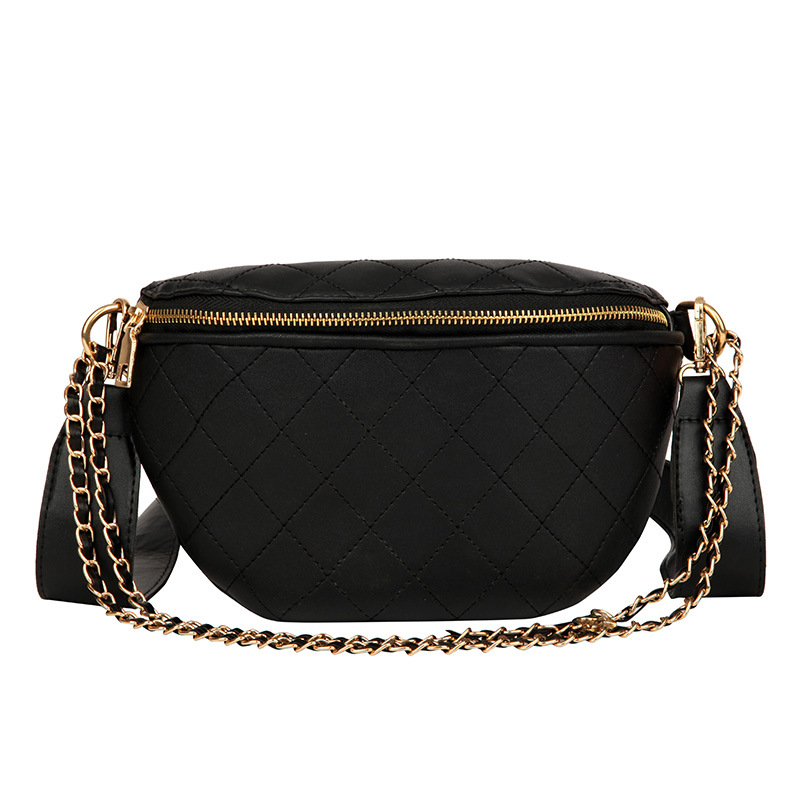 Women's Fanny Belt Waist Pack Small Chain Bag Unisex Simple Casual Bags For 2019 New PU Leather Fanny Pack Women's Waist Bag