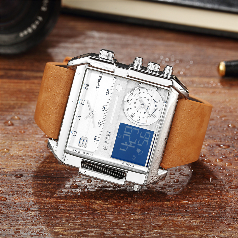 6.11 Square Watches Men Led Waterproof Multiple Time Zone Mens Watches Brand Luxury Relogio Masculino Montre Homme Sport Watch