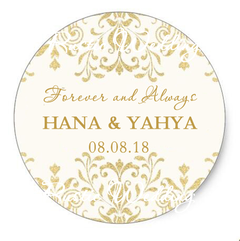 Personalized Gold Paper Sticker, Wedding Date And Name