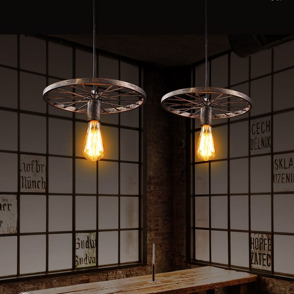 Edison Loft Style Iron Wheel Droplight Industrial Vintage Pendant Light Fixtures For Dining Room Hanging Lamp Lustres De Sala retro loft style iron droplight industrial vintage pendant light fixtures for dining room edison hanging lamp lamparas