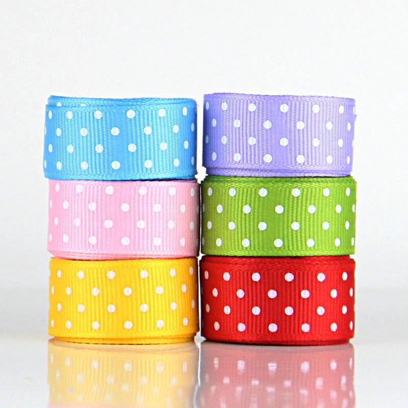 Горячая оптовая продажа! Мм лента в горошек «15 мм Рождество горошек 5/8 6 цветов смешанные набор для ребенка банты на голову решений