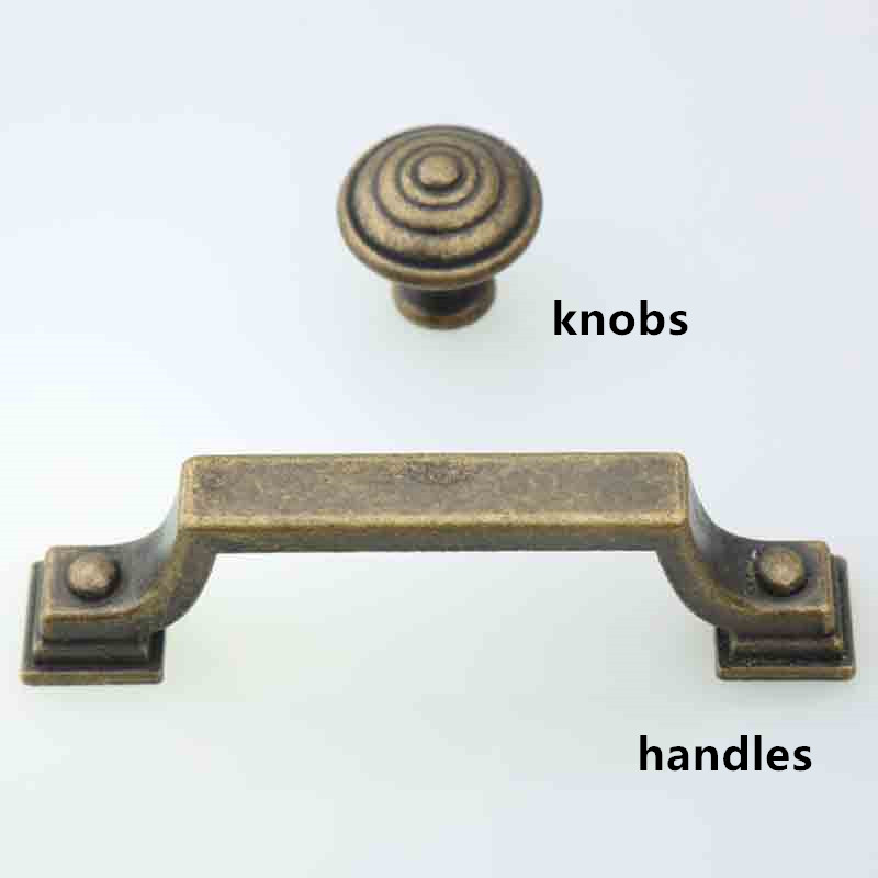 76mm rustico retro furniture handles bronze cabinet drawer pulls knobs 3″ antique brass dresser door handles vintage bronze pull