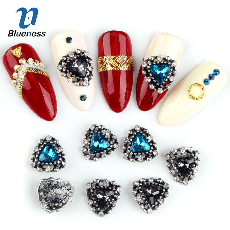 Blueness 10Pcs/lot Manicure Triangle Gem Design 3D Nail Rhinestones Studs Accessories Adhesives Nails Art Decorations Jewelry 300pcs set gold silver 3d alloy nail art decoration diy glitter rhinestones manicure nail accessories triangle design with boxes