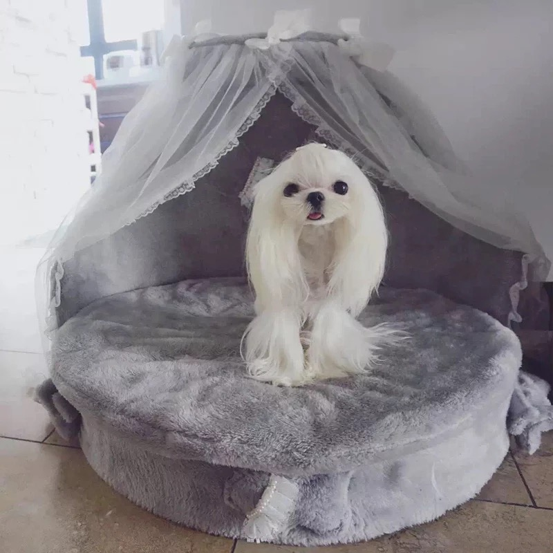 Dog bed 2018 luxury dog kennels princess bed lovely cool dog pet cat beds sofa teddy house suede fabric lace pet bed
