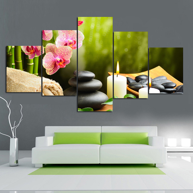 living room wall hangings. 5 PIECE CANVAS ART modern home decoration large living room wall hangings  beautiful FENGSHUI paintings canvas