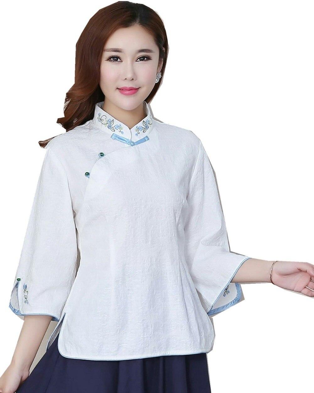 Couleur Style Pour Mélange Blouse Top Lin De Chinois marine Shanghai Femmes Chemise blanc Histoire Cheongsam Gris Femme Bleu 3 PAng6xzq