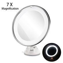 Zwembad io espelho de maquiagem com ventosa giratória, espelho de maquiagem com ampliação e ventosa de bloqueio elétrico brilhante, luz difusada e braço ajustável de 360 graus