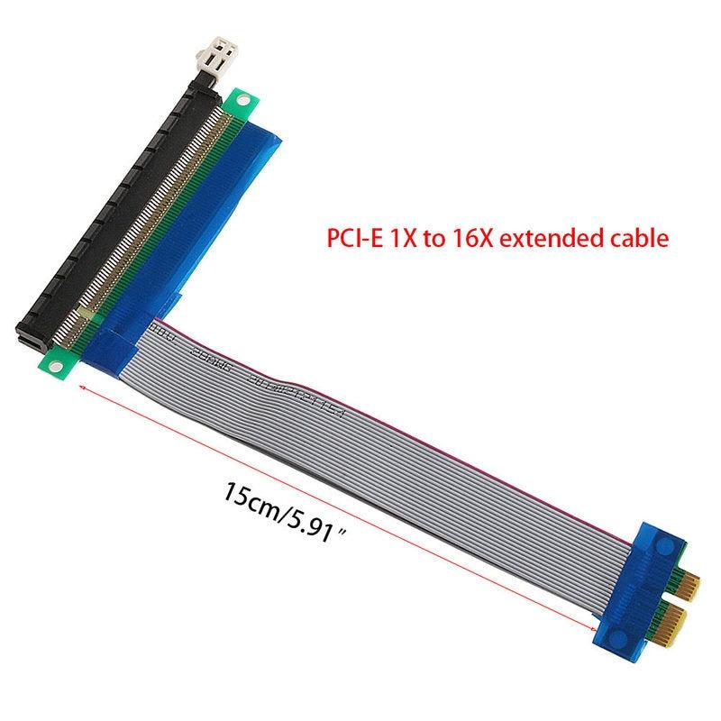 1PC PCIe PCI Express 1x To 16x Slots Extender Riser FFC PCI-E 1x-16x Flexible Flat Cable 15cm for 1U/2U Rackmount Chassis C26 pcie 1x to 4pci express 1x slots riser