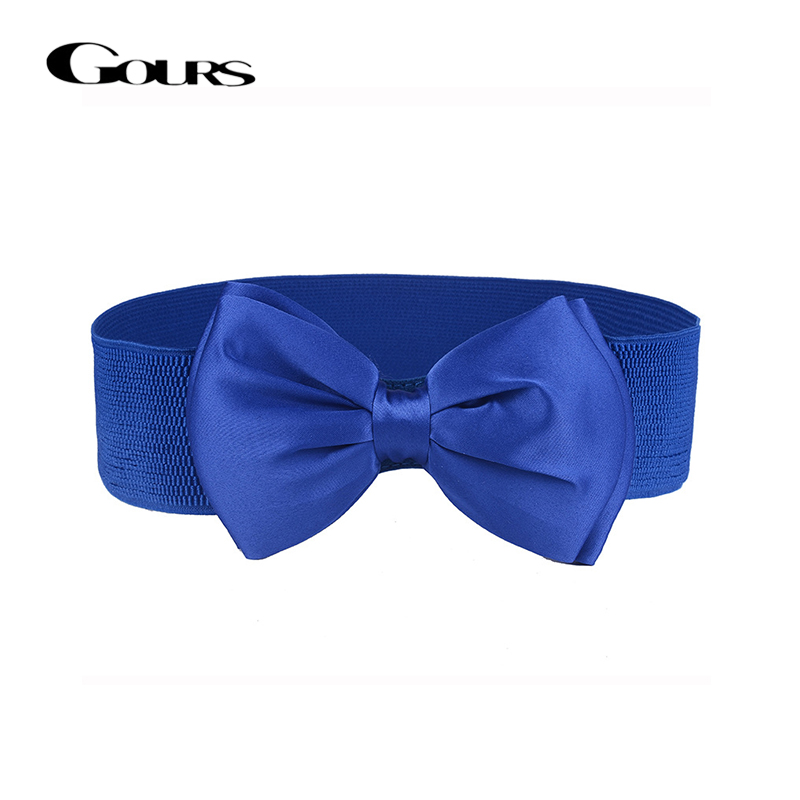 Gours Dress Cummerbunds For Women PU Leather Waist Belts Wide Elastic Girdle Strap Fashion Big Bowknot New Arrival PDL051
