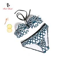 Ariel Sarah Brand 2017 Hot Sale Striped Print Geometric Bikinis Set Low Waist Women Swimsuit Swimwear