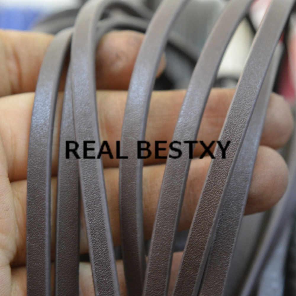 Настоящие BESTXY 5 м/лот 5*2 мм коричневые плоские кожаные полоски струны с масляной окантовкой плоские кожаные шнуры для изготовления браслетов материалы