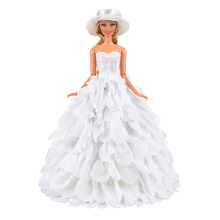 Red Pink New Evening Party Wedding Lace Baby Doll Long Tail Gift Present Clothes Set Accessories Dress Outfit For Barbie Girls leadingstar 20 pcs lot pink hangers dress clothes accessories for barbie doll pretend play new year girls gift zk15