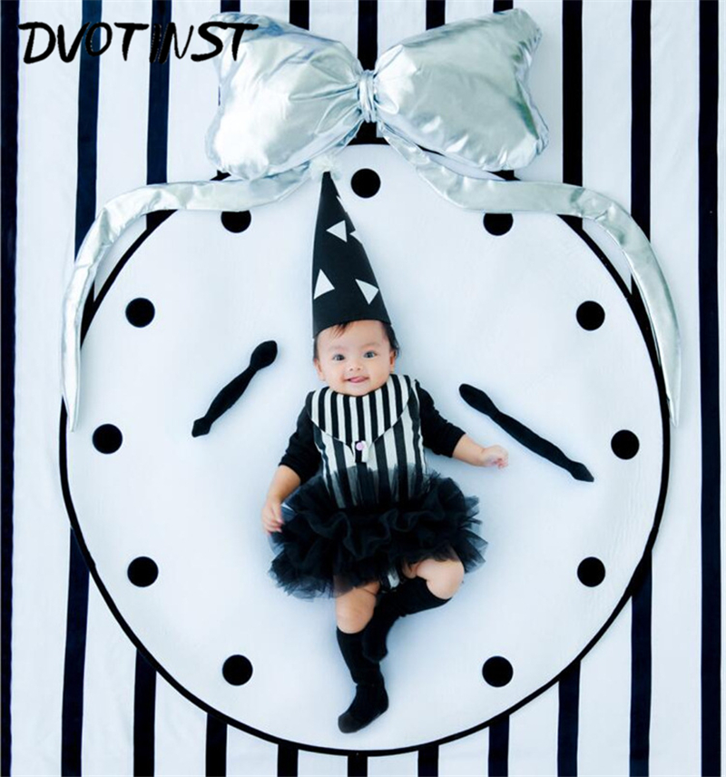 Dvotinst Newborn Baby Photography Props Clock Clothes Theme Background Set Fotografia Accessory Studio Shooting Photo Props ingersoll in1616bk