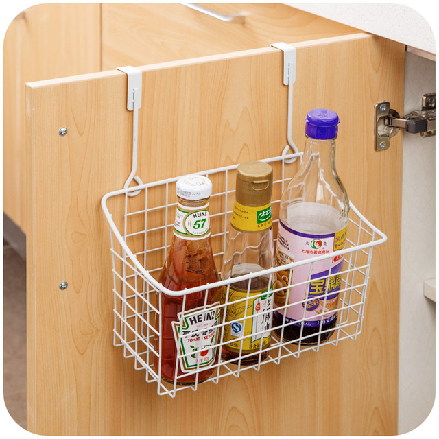 White Metal Cupboard Spice Rack Storage Organizer Kiechen Single Wall Hanging Holder Racks Shelves For Spices With Hook