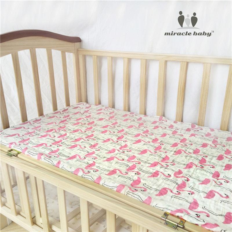 100% Cotton Muslin Soft Fitted Crib Sheet 130x70cm infant Soft Bedding Sheet Sets Mattress Cover Bedspeard Sheet