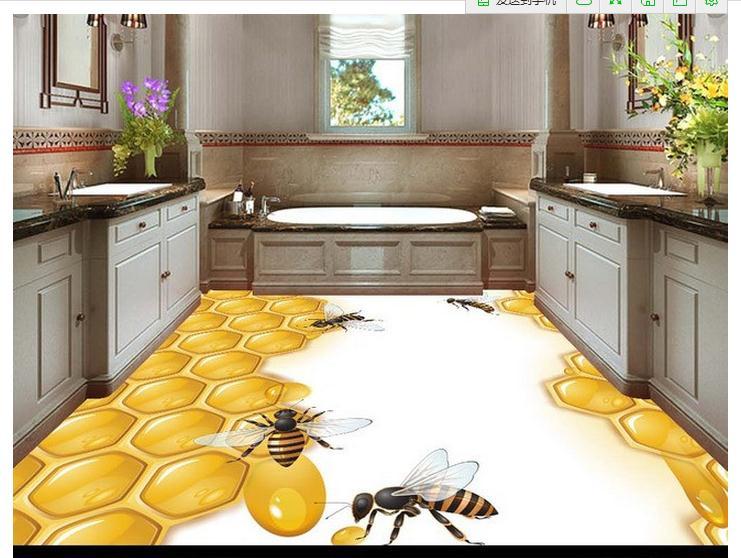 Free shipping custom mural 3d PVC Floor painting wallpaper 3D stereo high force grid honey bee honey floor wall heme decoration