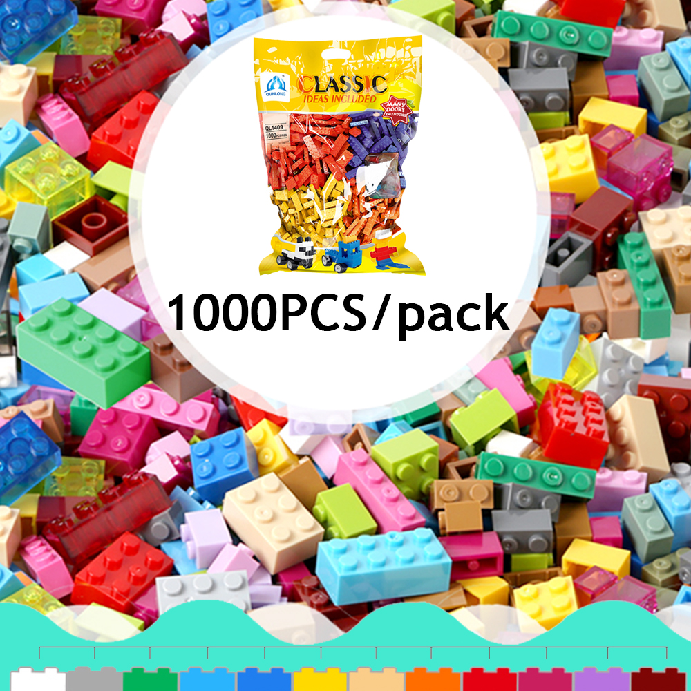 все цены на 1000PCS/pack Building Bricks with Baseplate Figures Brick-separator DIY City Kids Blocks Toy Compatible with legoingly онлайн