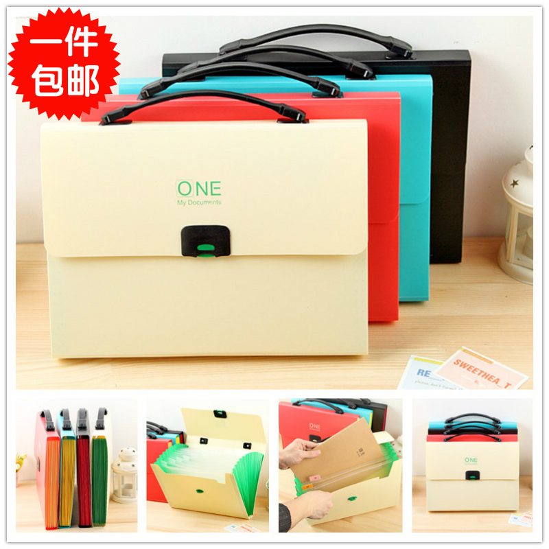 QSHOIC stationery office supplies bill bag portable document bag 12 layer folder A4 multilayer paper bags organ package inserts office stationery plastic a4 file folder document bags school supplies expanding wallet bill folders for documents
