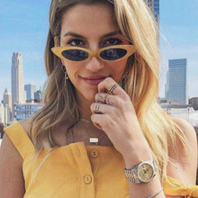 Vintage Women Small Oval Sunglasses Cat eye Eyewear Brand Designer Retro Tiny Ov