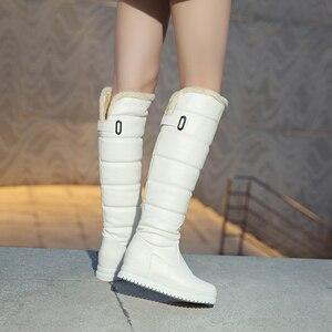 Image 3 - Nga Mùa Đông Giày Nữ Ấm Áp Đầu Gối Cao Giày Mũi Tròn Xuống Lông Thời Trang Nữ Đùi Ủng Giày Chống Nước Botas n318