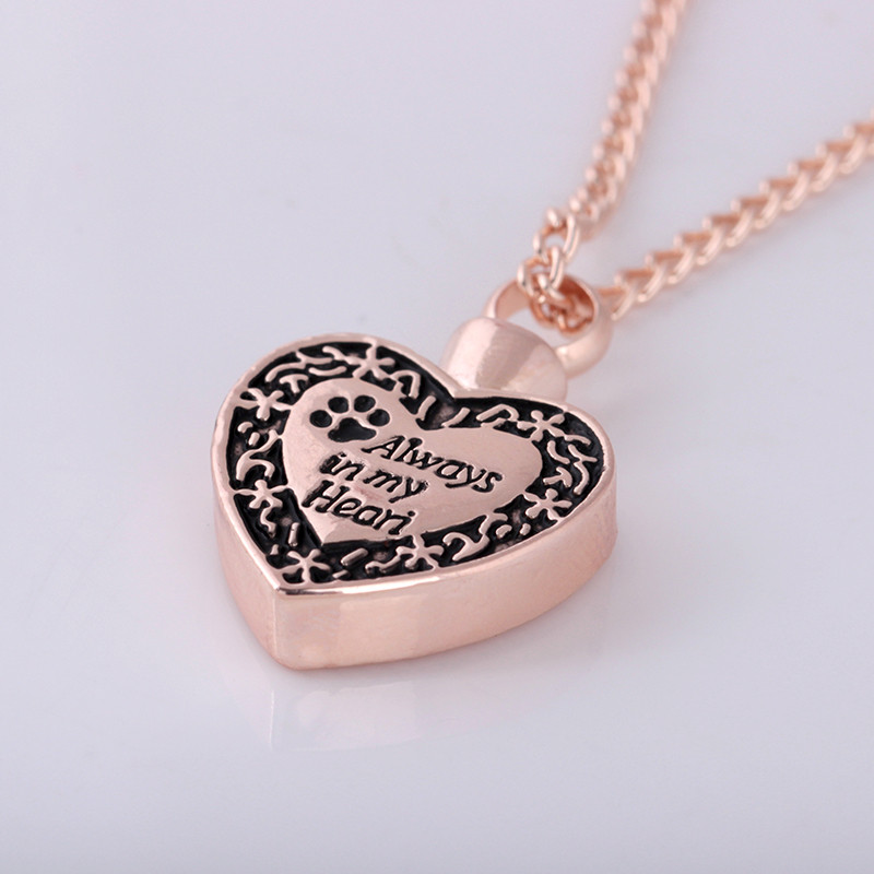 OTOKY 2018 Hot Sale Always in my Heart Dog Footprint Ashes Memorial Necklace For Gift Dropshipping May22