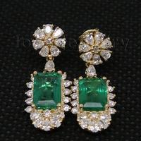 14K Yellow Gold Natural Gemstone Emerald Female Earrings Real Diamond 585 Gold Lady Drop Earrings Women Party Fine Jewelry Gift