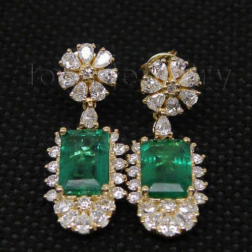 14 k ouro amarelo natural pedra preciosa esmeralda feminino brincos de diamante real 585 ouro senhora gota brincos feminino festa jóias finas presente