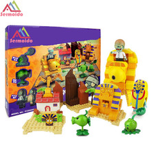 Plants Vs Zombies Garden Maze Struck Game Building Blocks Bricks Like Figures Minecraft Toys For Children Gift B11