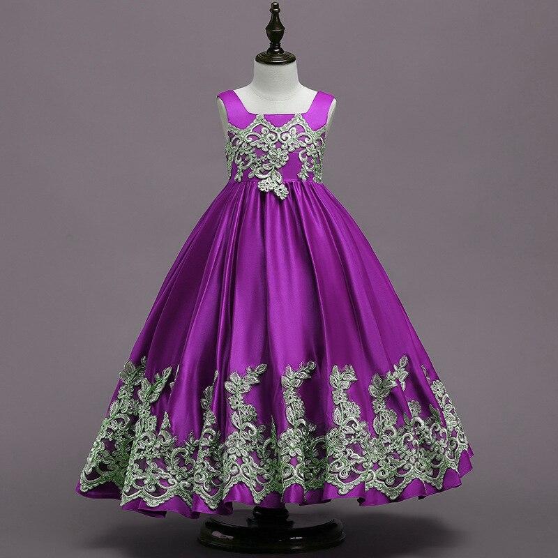 Королевское голубое платье принцессы в пол с цветочным узором для девочек; коллекция года; праздничное платье для девочек с золотой аппликацией; платья для первого причастия; вечерние платья - Цвет: Фиолетовый