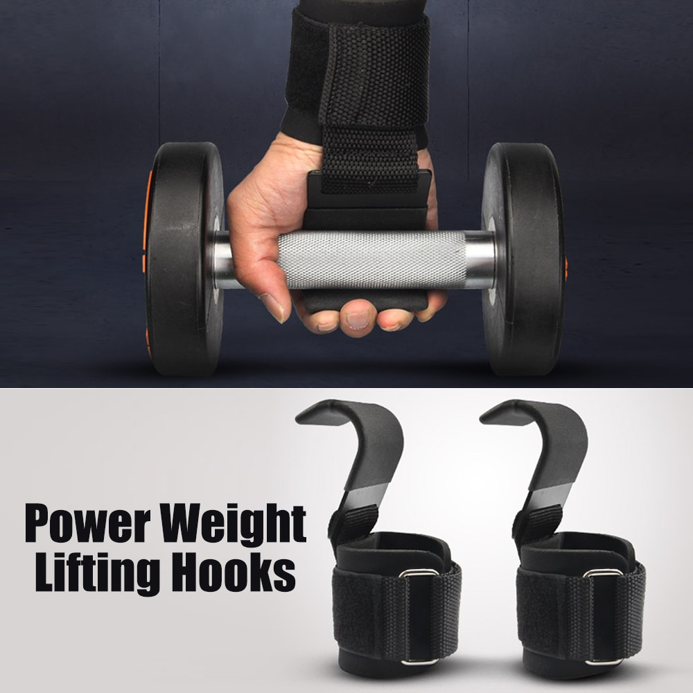 Power Weight Lifting Pull up Hand Wraps Gym Training Workout Dumbbell Grips Power Wrist Support with Lifting Hooks