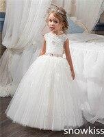 2018 blanco lindo vestido de primera comunión tulle arco sin espalda niñas puffy desfile vestido Toddler glitz Pageant vestidos