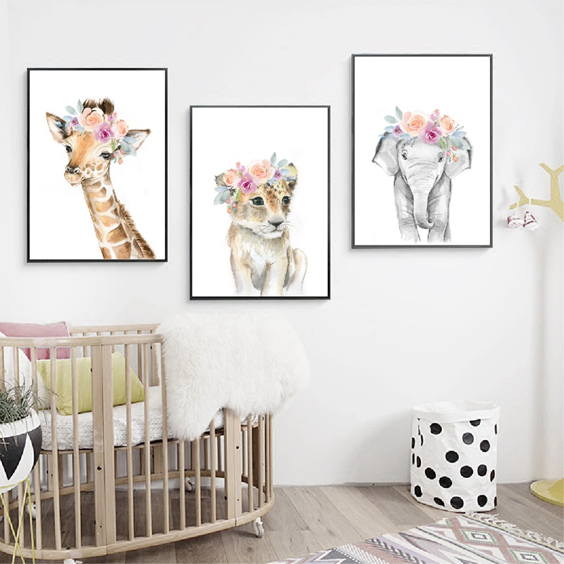 GUDOJK Pintura Mural Baby Lion Poster Print Flower Crown Wreath Nursery Animals Wall Art Canvas Painting Safari Animal Picture Girls Room Decoraci/ón de la pared-50x70cm