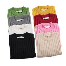 Jesień zima dziewczynek swetry miękkie bawełniane chłopcy dziergany sweter cukierki kolor dzieci prążkowany sweter odzież dziecięca tanie tanio REGULAR Krótki Unisex O-neck Pasuje mniejszy niż zwykle proszę sprawdzić ten sklep jest dobór informacji NoEnName_Null