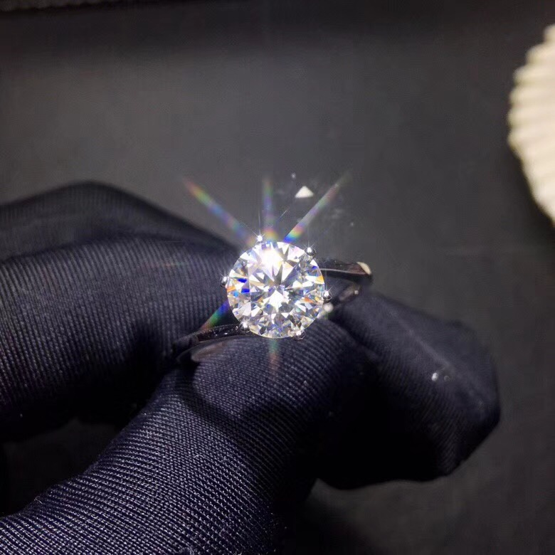 moissanite fire colour super beautiful 1 carat and 2 carat 925 sterling silver simple style