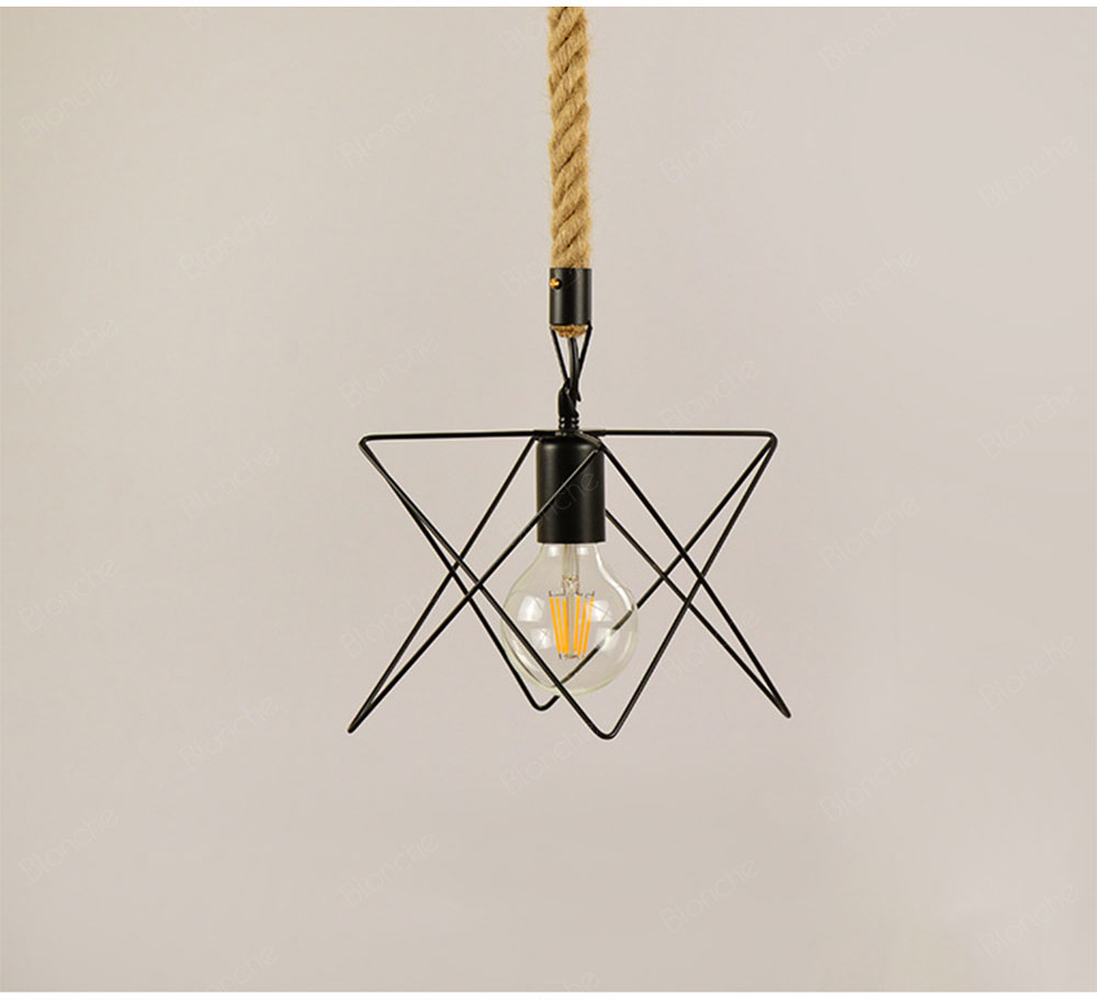 Vintage Rope Lamp Industrial Iron Cage Pendant Lights for Home Kitchen Dining Room Bedroom Hanging Lamp Loft Decor Light Fixture