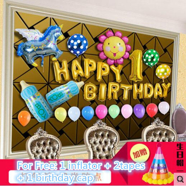 Fantastic Idea Happy Birthday Boy Girl Blue Pink Balloon Party Wall