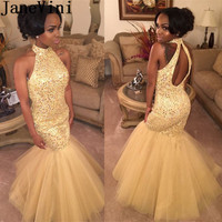 JaneVini Luxurious Gold Crystal Mermaid Prom Dress for Black Girls High Neck Keyhole Back Party Dresses Beadings Evening Gowns