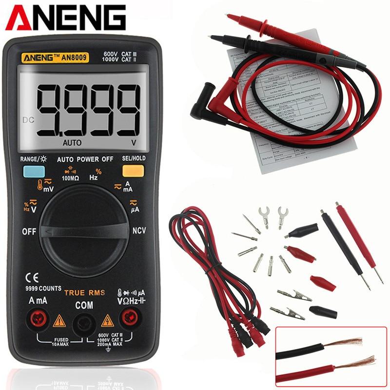 купить ANENG AN8009 Auto Range Digital Multimeter 9999 Counts Backlight AC/DC Ammeter Voltmeter Ohm Transistor Tester Multi Meter по цене 1615.73 рублей