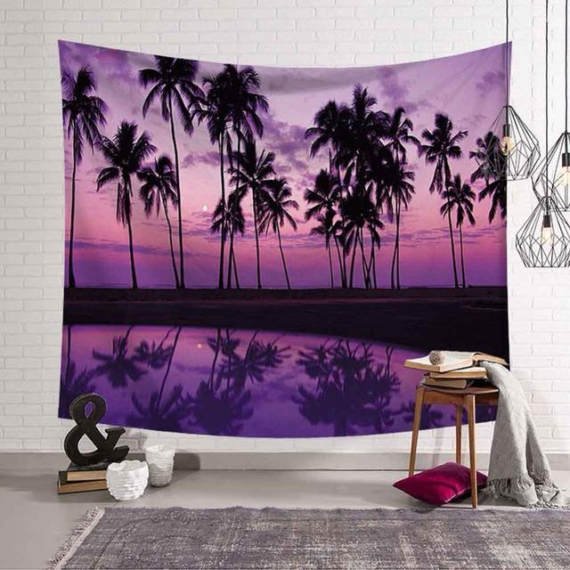 paisaje tapices Yoga playa toalla decoración Bohemia para el hogar Palmera Tropical hojas tapiz colgante de pared puesta del sol en la playa