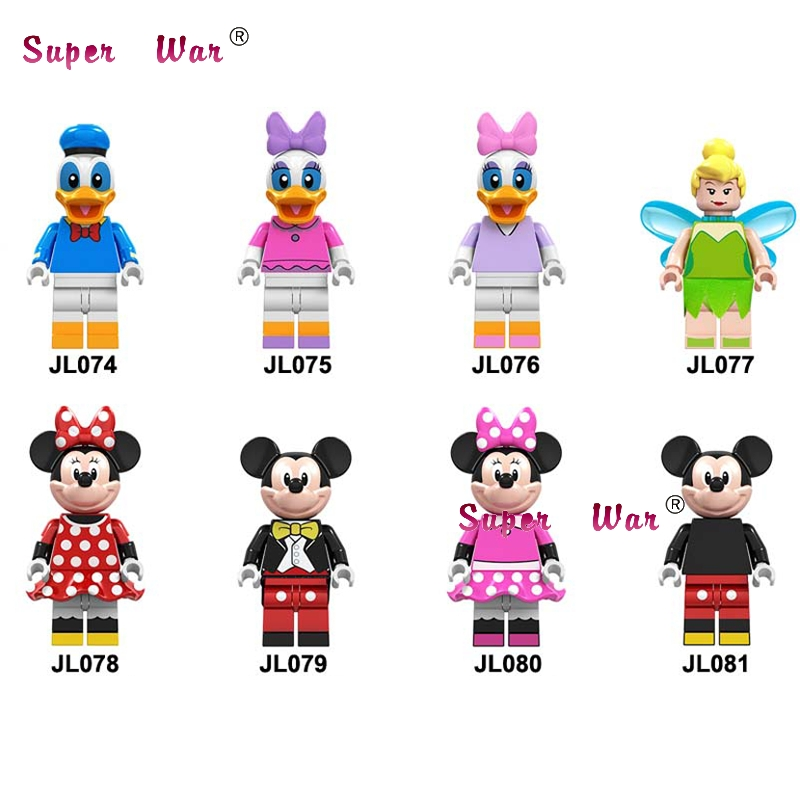 50pcs Building Blocks Cartoon Movie DAISY DUCK TINKER BELL Minnie MOUSE Mickey Shield Sword Archer for