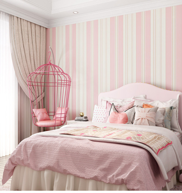 Modern PINK Blue Striped Non-woven Wallpapers Roll For Living Bedding  Children Room Wall Paper Wall Papel De Parede 10MX53CM 5e4d61814525