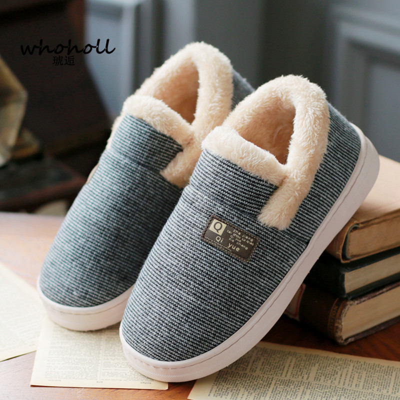 WHOHOHLL Man Winter Warm Fur Slippers Men Slippers Cotton Wrapheel Couple Lovers Home Slippers Indoor Plush Size House Shoes Man