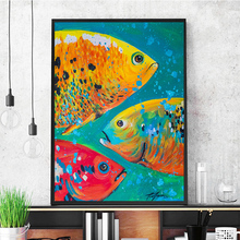 Canvas Art Wild Animals Wall Painting Colorful Fish Oil Home Decoration Print Poster for Living Room