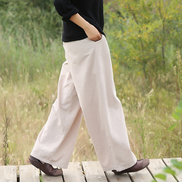 Cotton Linen Elastic waist Women Wide leg Pants Solid Red Black White Vintage Casual Pants Brand Loose Wide leg Trousers 5083