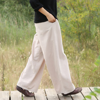 Cotton Linen Elastic Waist Women Wide Leg Pants Solid Red Black White Vintage Casual Pants Brand