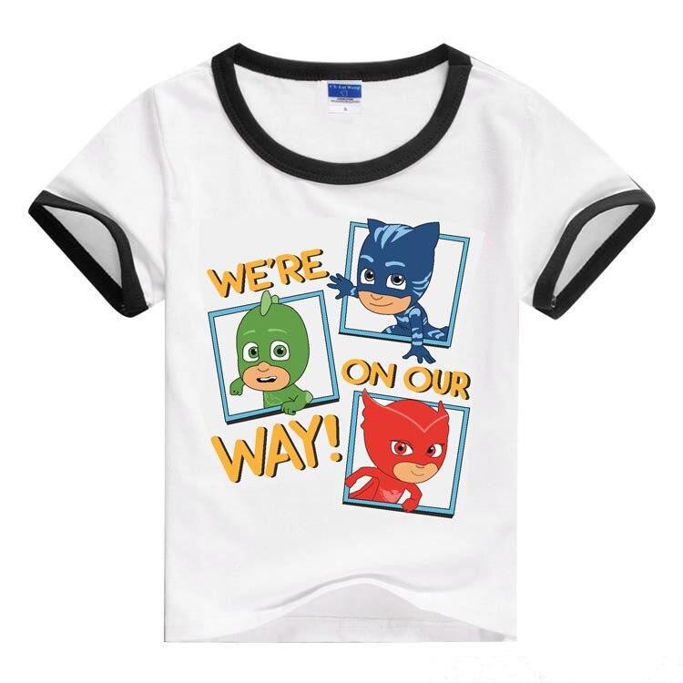 Spring Summer Circle Leader Pattern 2018 Masked Pajamas Mask Man Cartoon Child Boy and Girl T-shirt Short Sleeve 2-10 Years Old
