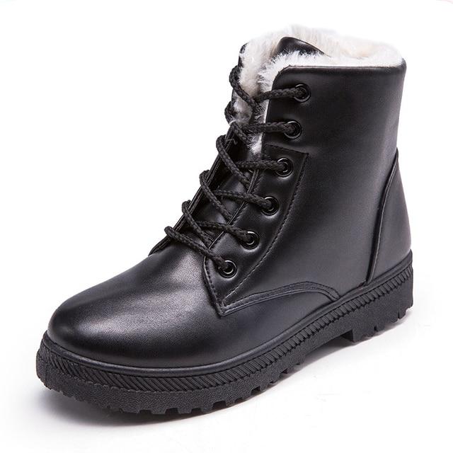 Moda Kadın Çizme Klasik Kadın Ayakkabı PU Deri yarım çizmeler Motosiklet Botları Kadın Kışlık Botlar Siyah